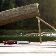 Unser Taschenmesser am Teich mit einer gerade geschnitzten Falle.